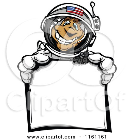 Cartoon of an American Astronaut Man Holding a Sign - Royalty Free Vector Clipart by Chromaco