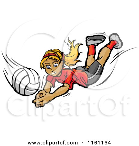 Cartoon of a Blond Girl Diving for a Volleyball - Royalty Free Vector Clipart by Chromaco