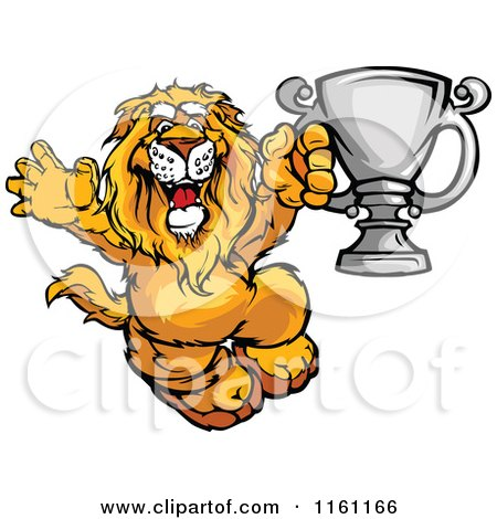 Cartoon of a Victorious Lion Holding up a Silver Trophy - Royalty Free Vector Clipart by Chromaco