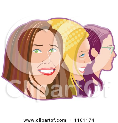 Clipart of Happy Women in Profile with Halftone Hair - Royalty Free Vector Illustration by Frisko