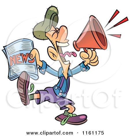 Clipart of a Newsie Man Holding a Paper and Shouting Through a Megaphone - Royalty Free Vector Illustration by Frisko