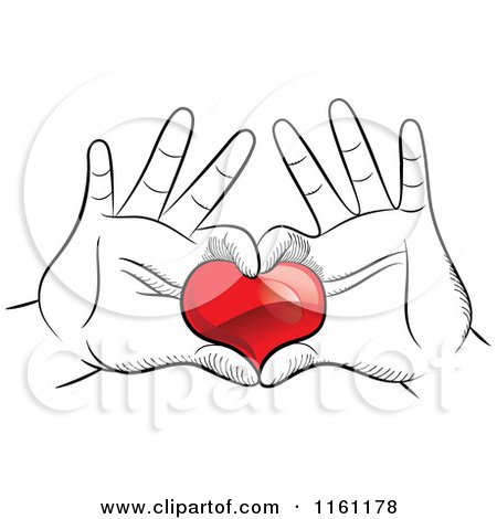 Clipart of Black and White Hands Framing and Holding a Red Heart - Royalty Free Vector Illustration by Frisko
