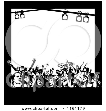 Clipart of Black and White Frame of Dancers and Stage Lights with Copyspace - Royalty Free Vector Illustration by Frisko