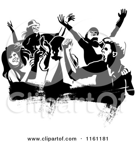 Clipart of Black and White People Dancing over a Grunge Smear - Royalty Free Vector Illustration by Frisko