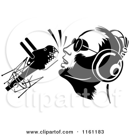 Clipart of a Black and White Dj or Singer with a Retro Microphone - Royalty Free Vector Illustration by Frisko