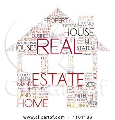 Clipart of a Real Estate House Word Collage - Royalty Free CGI Illustration by MacX