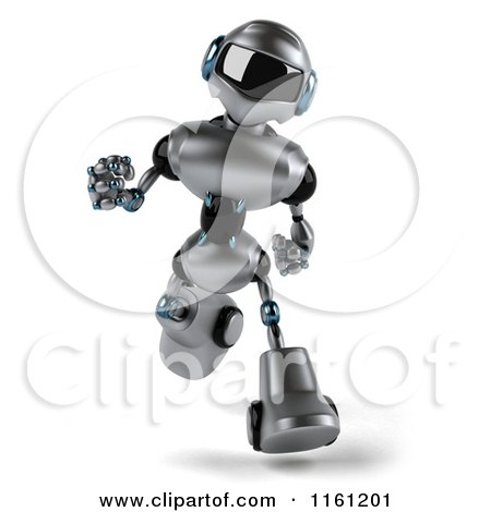 Clipart of a 3d Silver Male Techno Robot Running - Royalty Free CGI Illustration by Julos