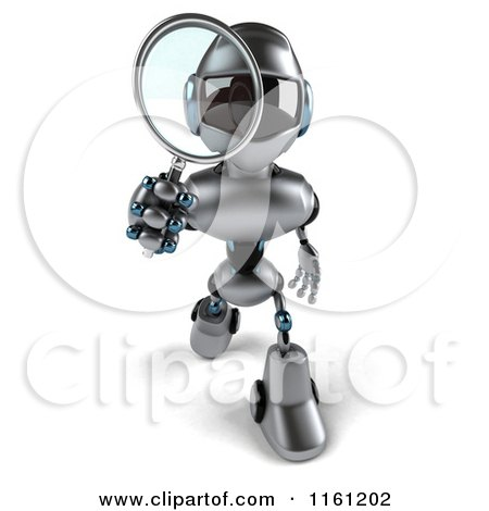 Clipart of a 3d Silver Male Techno Robot Using a Magnifying Glass - Royalty Free CGI Illustration by Julos