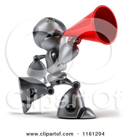 Clipart of a 3d Silver Robot Mascot Using a Megaphone - Royalty Free CGI Illustration by Julos