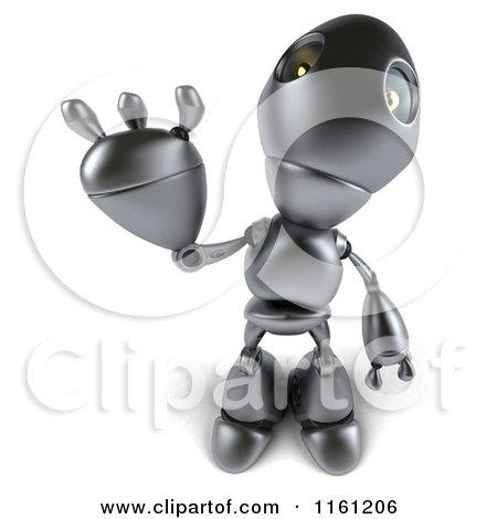 Clipart of a 3d Silver Robot Mascot Waving 2 - Royalty Free CGI Illustration by Julos