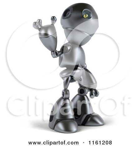 Clipart of a 3d Silver Robot Mascot Pointing up - Royalty Free CGI Illustration by Julos