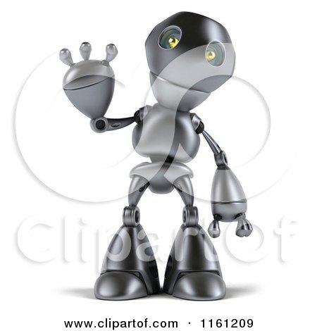 Clipart of a 3d Silver Robot Mascot Waving - Royalty Free CGI Illustration by Julos