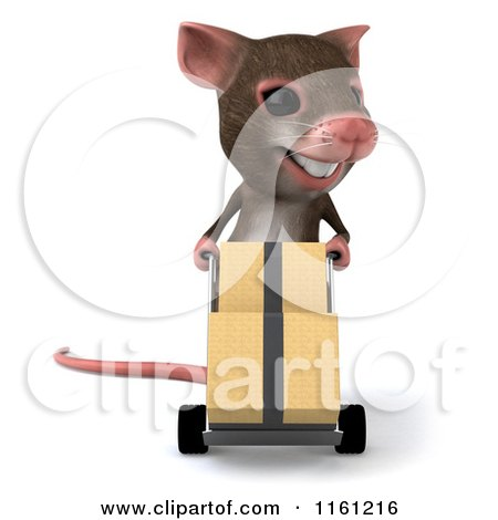 Clipart of a 3d Mouse Pushes Boxes on a Dolly - Royalty Free CGI Illustration by Julos