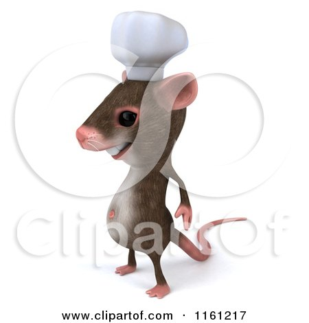 Clipart of a 3d Chef Mouse Standing and Facing Left - Royalty Free CGI Illustration by Julos