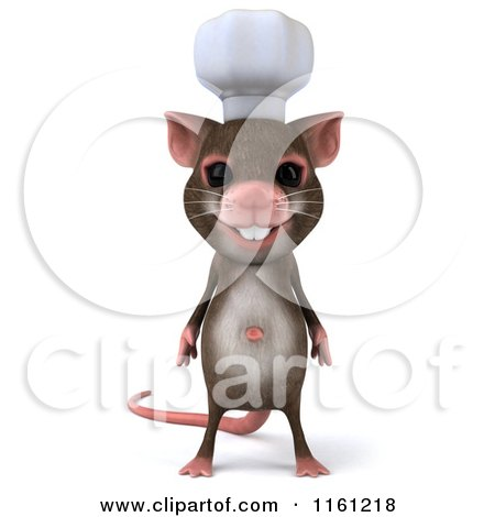 Clipart of a 3d Chef Mouse Standing and Facing Front - Royalty Free CGI Illustration by Julos