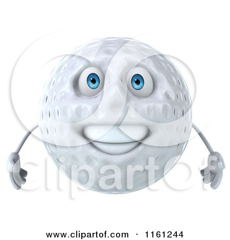 Clipart of a 3d Happy Golf Ball Mascot - Royalty Free CGI Illustration by Julos