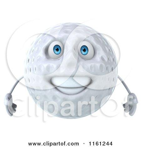Clipart Of A 3d Happy Golf Ball Mascot Royalty Free CGI Illustration
