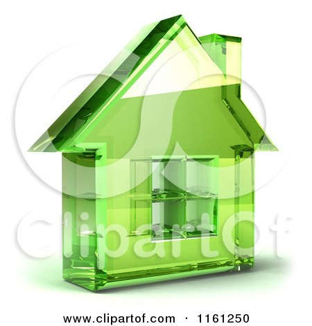 Clipart of a 3d Green Glass House - Royalty Free CGI Illustration by Julos