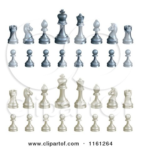 Clipart of a 3d Set of Black and White Chess Pieces - Royalty Free Vector Illustration by AtStockIllustration