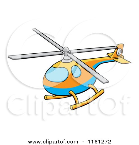 Cartoon of a Blue Orange and Yellow Helicopter - Royalty Free Vector Clipart by AtStockIllustration