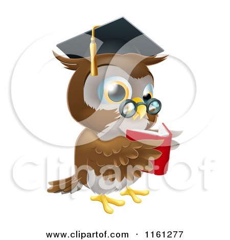 Cartoon Of A Wise Owl Wearing A Graduation Cap And Reading
