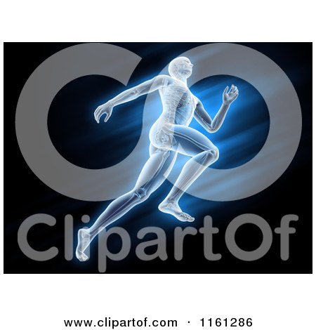 Clipart of 3d Anatomy of a Runner over Blue and Black - Royalty Free CGI Illustration by Mopic