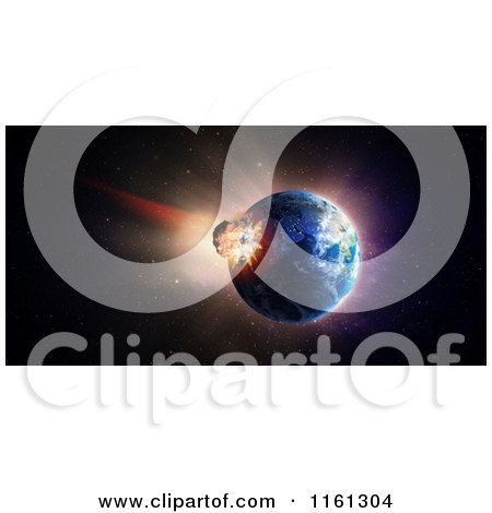 Clipart of a 3d Asteroid Crashing into Earth - Royalty Free CGI Illustration by Mopic