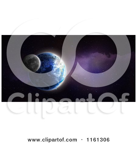 Clipart of a 3d Earth and Moon - Royalty Free CGI Illustration by Mopic