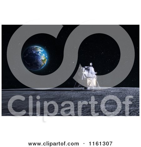 Clipart of a 3d Apollo Lunar Lander on the Moon with Earth in the Distance - Royalty Free CGI Illustration by Mopic