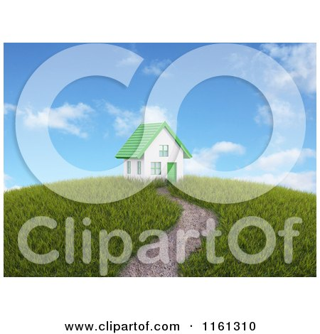 Clipart of a Path Leading to a 3d House with a Green Roof on Top of a Hill - Royalty Free CGI Illustration by Mopic
