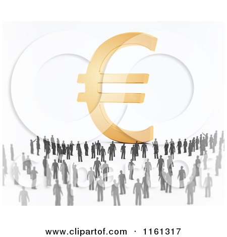 Clipart of a Crowd of 3d Tiny People Around a Golden Euro Symbol - Royalty Free CGI Illustration by Mopic