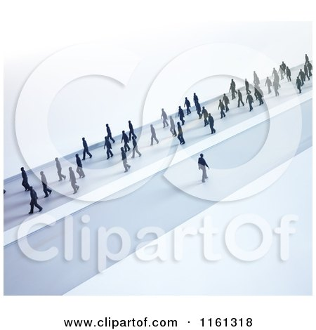 Clipart of 3d Tiny People Walking in One Direction and One Man Going His Own Way - Royalty Free CGI Illustration by Mopic