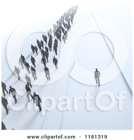Clipart of 3d Tiny People Walking in One Direction and One Man Choosing His Own Path - Royalty Free CGI Illustration by Mopic