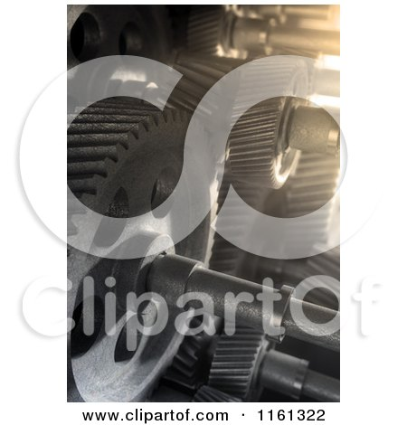 Clipart of Light Shining on 3d Industrial Gears - Royalty Free CGI Illustration by Mopic