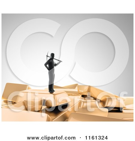 Clipart of a 3d Gold Digger with a Pickaxe Standing on Top of Bars 2 - Royalty Free CGI Illustration by Mopic
