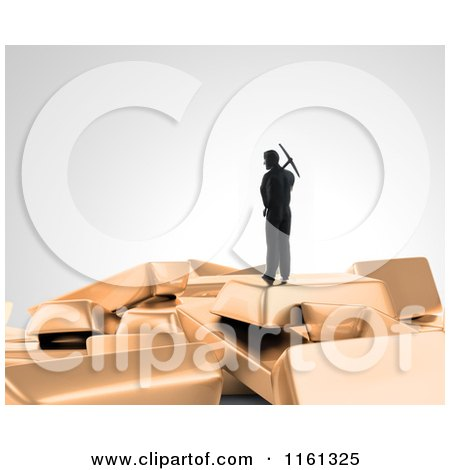 Clipart of a 3d Gold Digger with a Pickaxe Standing on Top of Bars - Royalty Free CGI Illustration by Mopic