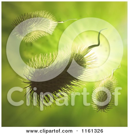 Clipart of 3d Furry Bacteria on Green - Royalty Free CGI Illustration by Mopic
