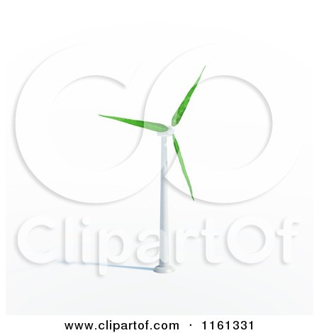 Clipart of a 3d Windmill with Leaf Blades - Royalty Free CGI Illustration by Mopic