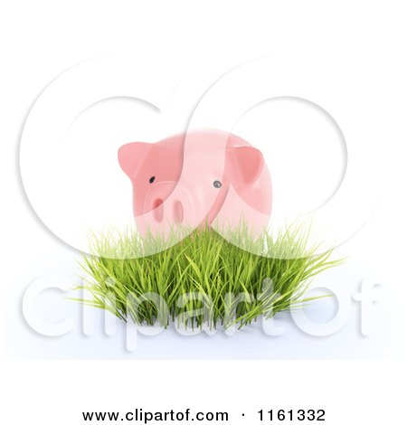 Clipart of a 3d Pink Piggy Bank in Grass - Royalty Free CGI Illustration by Mopic