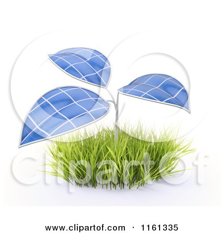 Clipart of a 3d Plant with Photovoltaic Solar Panel Leaves - Royalty Free CGI Illustration by Mopic