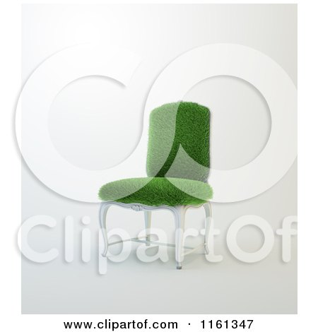 Clipart of a 3d Grassy Chair with a White Wooden Frame - Royalty Free CGI Illustration by Mopic