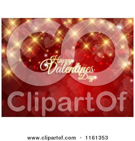 Clipart of a Happy Valentines Day Greeting with Gold Sparkles Flares and Hearts on Red - Royalty Free Vector Illustration by KJ Pargeter