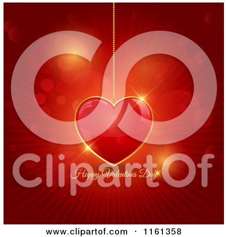 Clipart of a Happy Valentines Day Greeting and Red Pendant Heart over Rays and Flares - Royalty Free Vector Illustration by KJ Pargeter