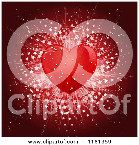 Clipart of a Transparent Red Heart with a Star Burst - Royalty Free Vector Illustration by KJ Pargeter