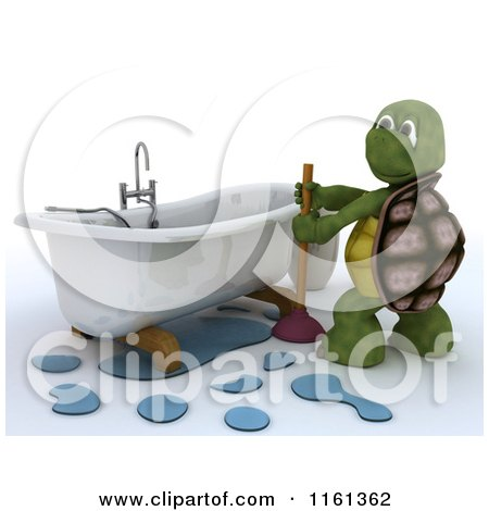 Clipart of a 3d Plumber Tortoise Working on a Clogged Bath Tub - Royalty Free CGI Illustration by KJ Pargeter