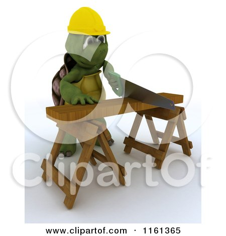 3d Carpenter Tortoise Worker Cutting Wood with a Saw Posters, Art Prints