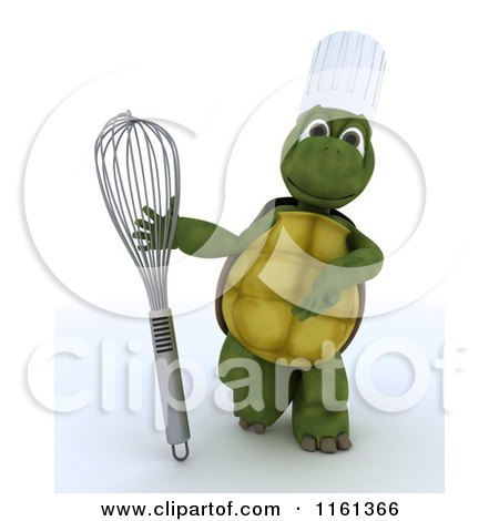 Clipart of a 3d Tortoise Chef Presenting a Whisk - Royalty Free CGI Illustration by KJ Pargeter