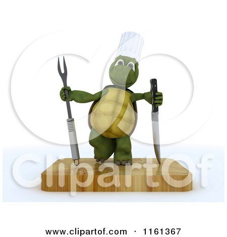 Clipart of a 3d Tortoise Chef with a Carving Knife and Fork on a Cutting Board - Royalty Free CGI Illustration by KJ Pargeter