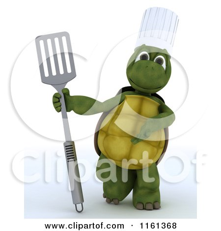 Clipart of a 3d Tortoise Chef Presenting a Fish Slice Spatula - Royalty Free CGI Illustration by KJ Pargeter