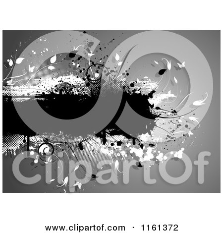 Clipart of a Grungy Text Bar with Foliage and Butterflies on Gray - Royalty Free Vector Illustration by KJ Pargeter